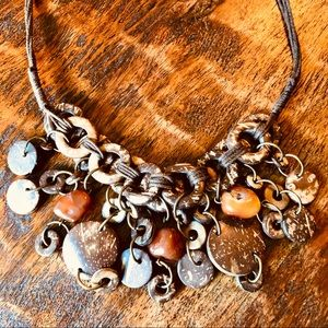 Vintage boho coconut and amber statement necklace
